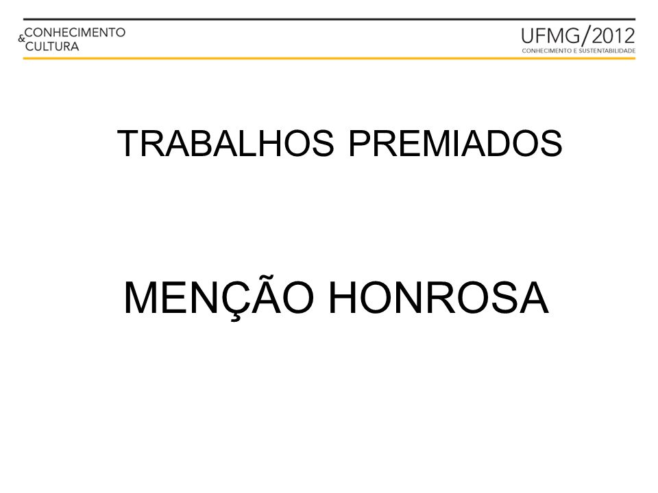 TRABALHOS PREMIADOS MENÇÃO HONROSA