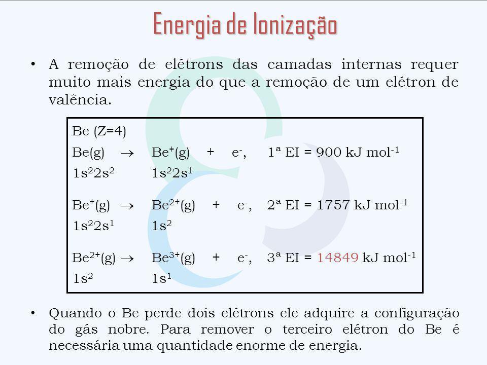 Energia de Ionização A remoção de elétrons das camadas internas requer muito mais energia do que a remoção de um elétron de valência.
