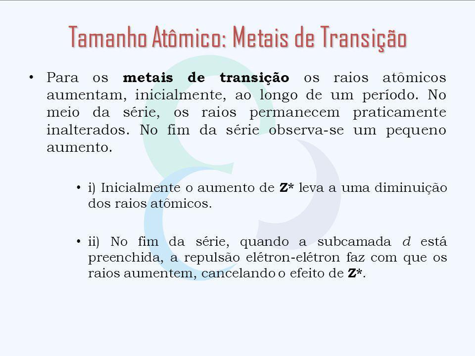 Tamanho Atômico: Metais de Transição
