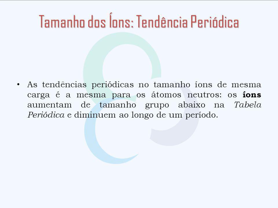 Tamanho dos Íons: Tendência Periódica