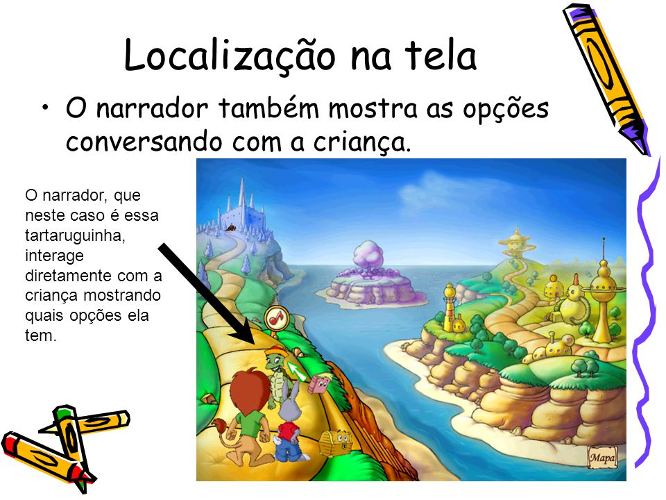 Localização na tela O narrador também mostra as opções conversando com a criança.