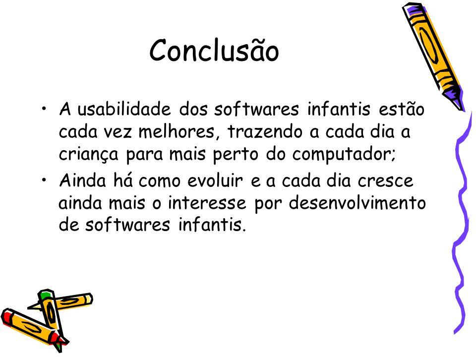 Conclusão A usabilidade dos softwares infantis estão cada vez melhores, trazendo a cada dia a criança para mais perto do computador;
