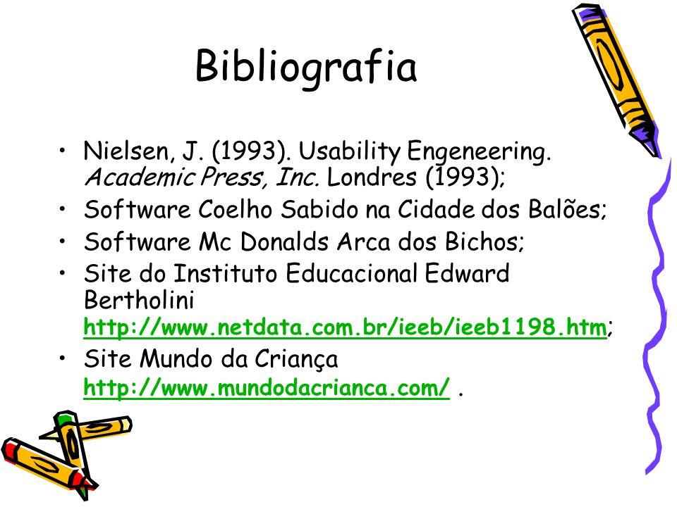 Bibliografia Nielsen, J. (1993). Usability Engeneering. Academic Press, Inc. Londres (1993); Software Coelho Sabido na Cidade dos Balões;