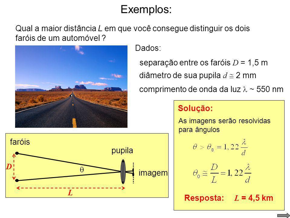 Exemplos: Qual a maior distância L em que você consegue distinguir os dois faróis de um automóvel