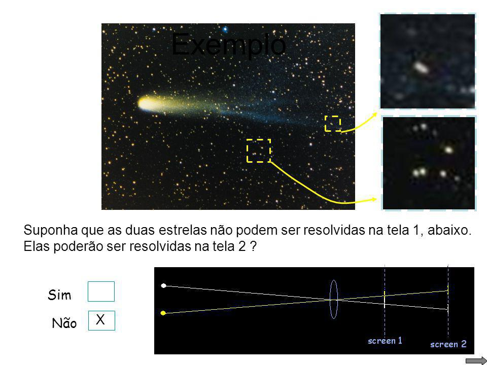 Exemplo Suponha que as duas estrelas não podem ser resolvidas na tela 1, abaixo. Elas poderão ser resolvidas na tela 2