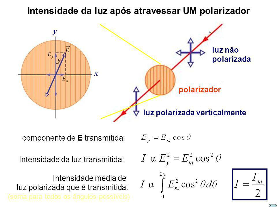 Intensidade da luz após atravessar UM polarizador