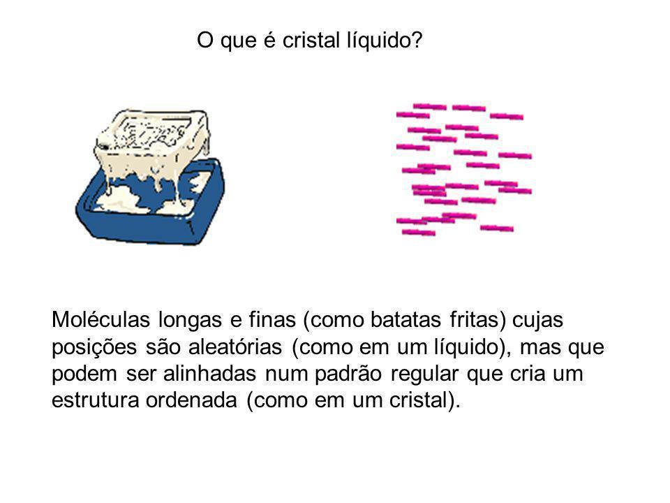O que é cristal líquido Moléculas longas e finas (como batatas fritas) cujas.