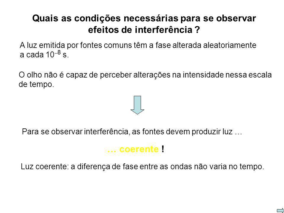 Quais as condições necessárias para se observar efeitos de interferência