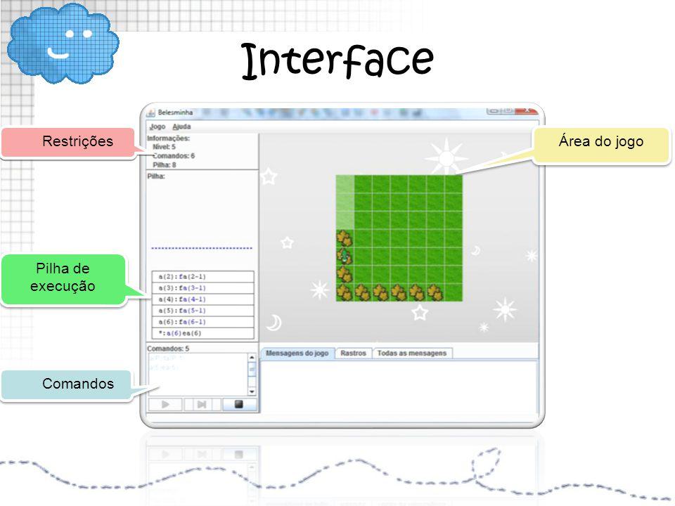 Interface Restrições Área do jogo Pilha de execução Comandos