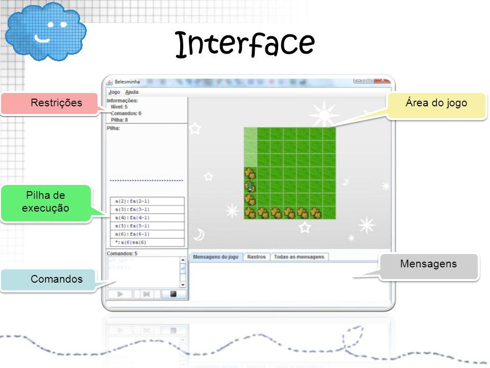 Interface Restrições Área do jogo Pilha de execução Mensagens Comandos