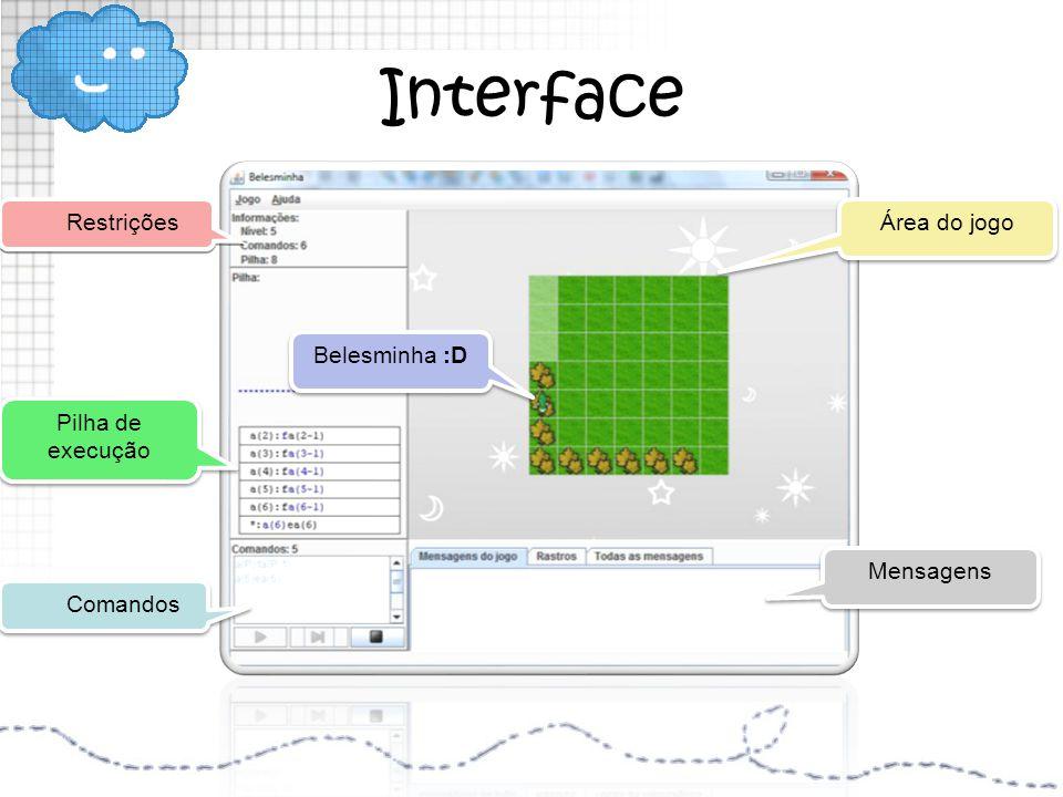 Interface Restrições Área do jogo Belesminha :D Pilha de execução