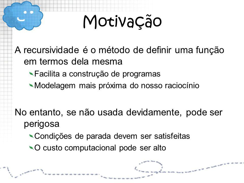 Motivação A recursividade é o método de definir uma função em termos dela mesma. Facilita a construção de programas.