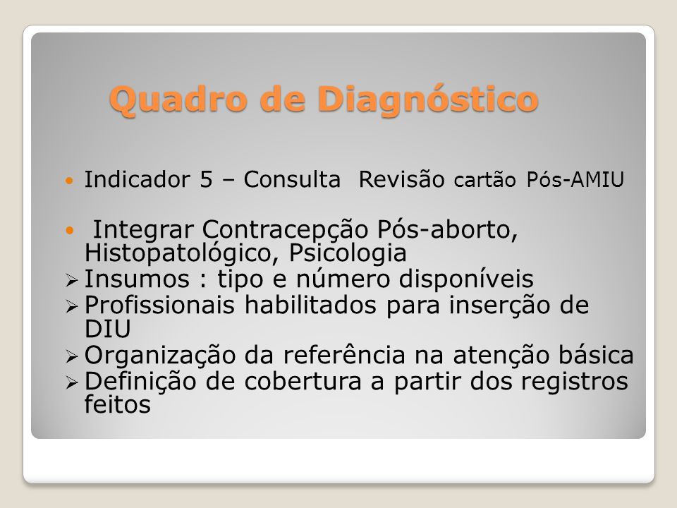 Quadro de Diagnóstico Indicador 5 – Consulta Revisão cartão Pós-AMIU. Integrar Contracepção Pós-aborto, Histopatológico, Psicologia.