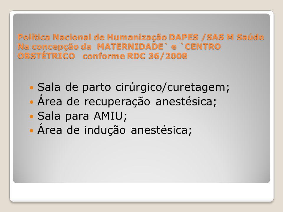 Sala de parto cirúrgico/curetagem; Área de recuperação anestésica;