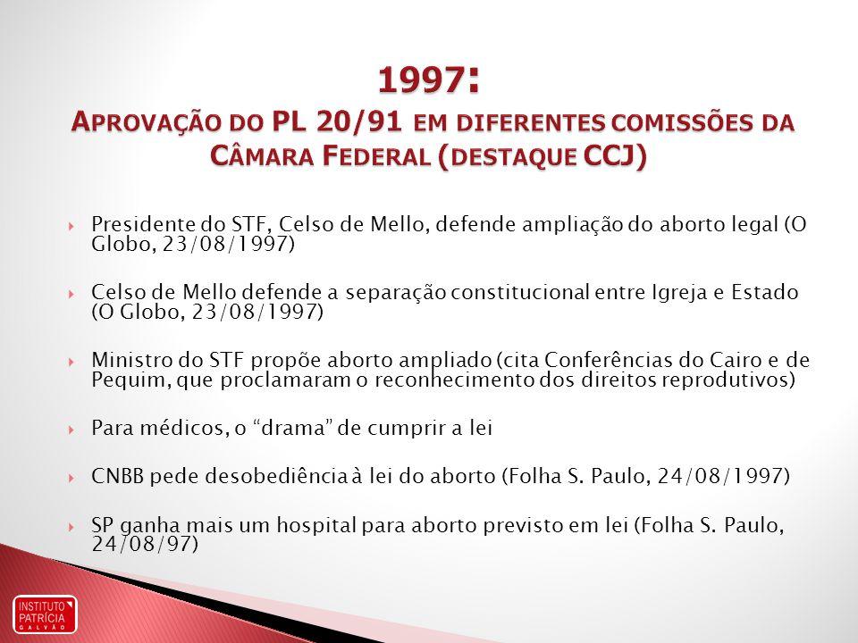 1997: Aprovação do PL 20/91 em diferentes comissões da Câmara Federal (destaque CCJ)