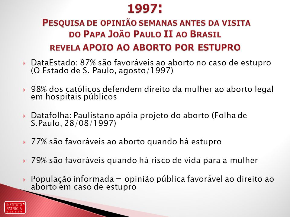 1997: Pesquisa de opinião semanas antes da visita do Papa João Paulo II ao Brasil revela apoio ao aborto por estupro