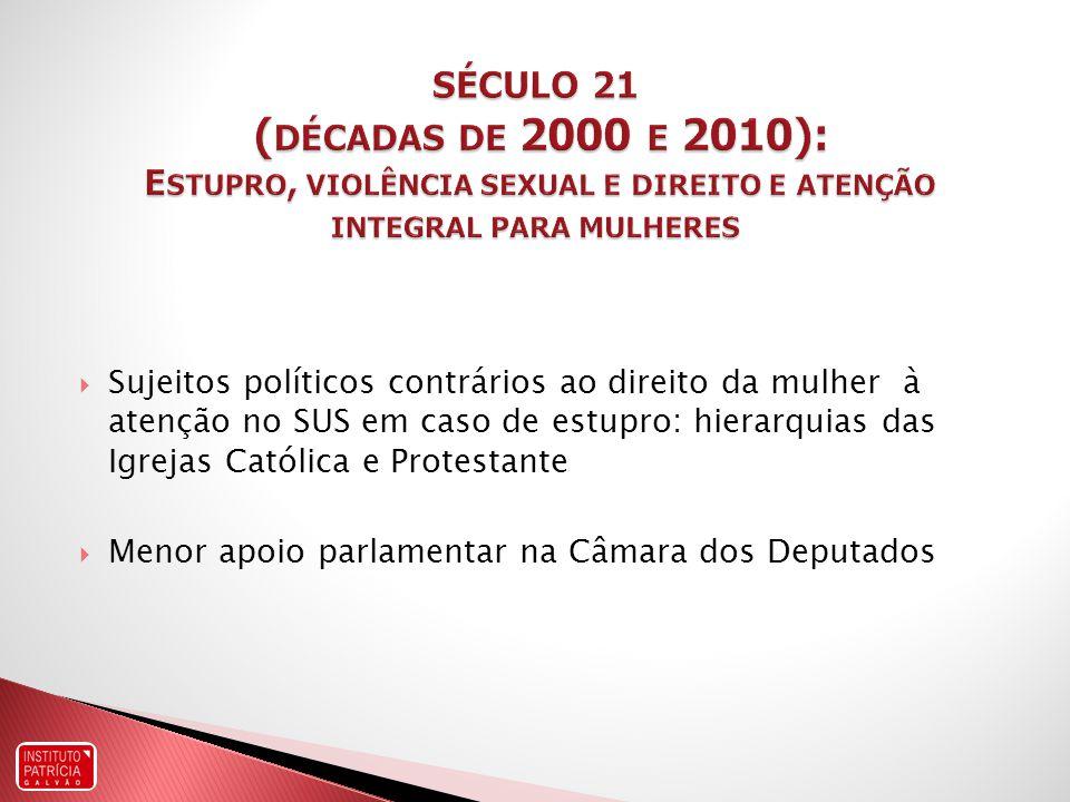 SÉCULO 21 (décadas de 2000 e 2010): Estupro, violência sexual e direito e atenção integral para mulheres