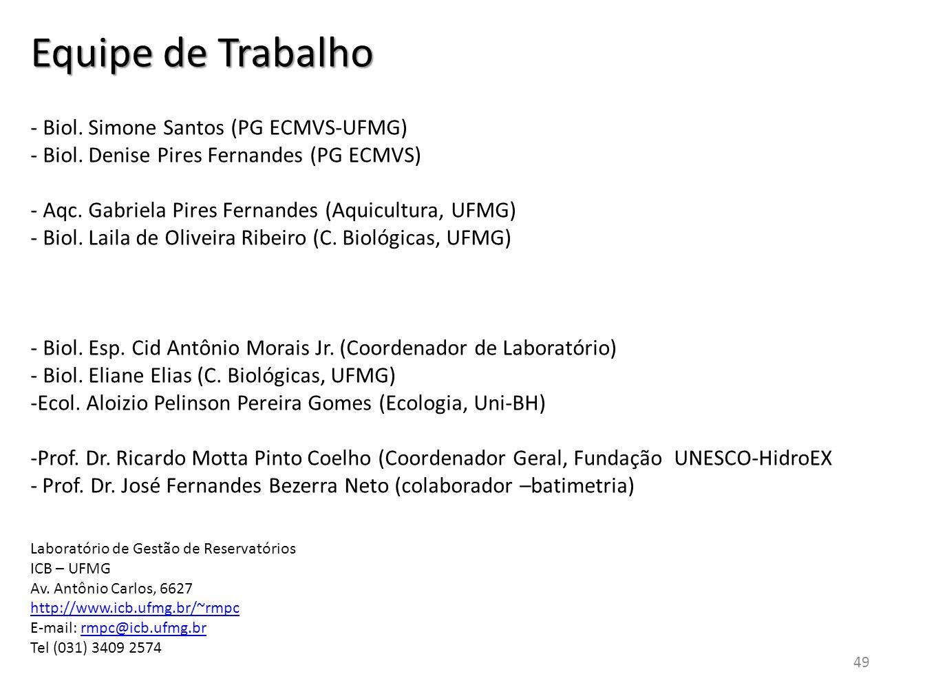 Equipe de Trabalho - Biol. Simone Santos (PG ECMVS-UFMG)