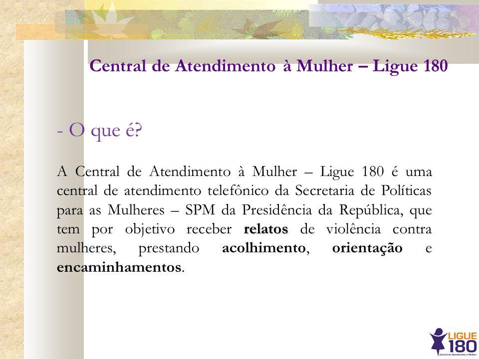 - O que é Central de Atendimento à Mulher – Ligue 180