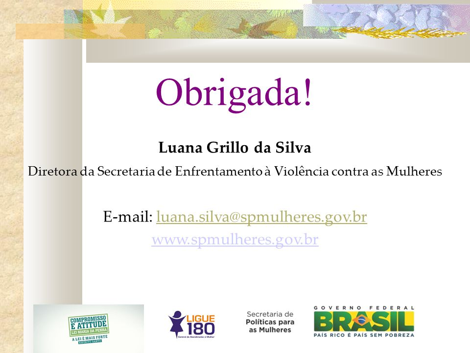 Obrigada! Luana Grillo da Silva E-mail: luana.silva@spmulheres.gov.br