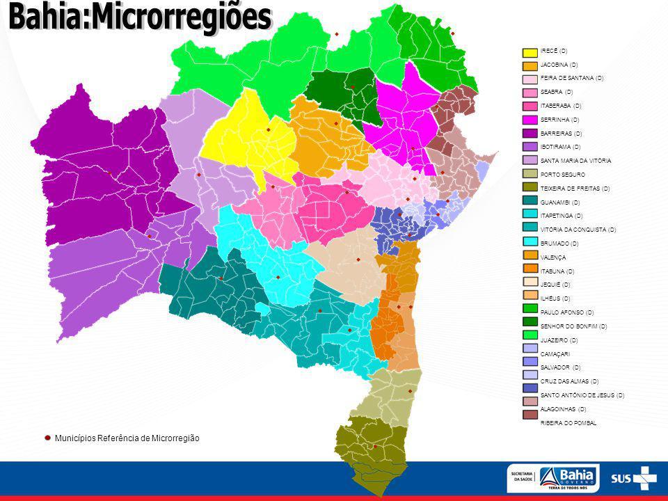 Bahia:Microrregiões 4 Municípios Referência de Microrregião IRECÊ (D)