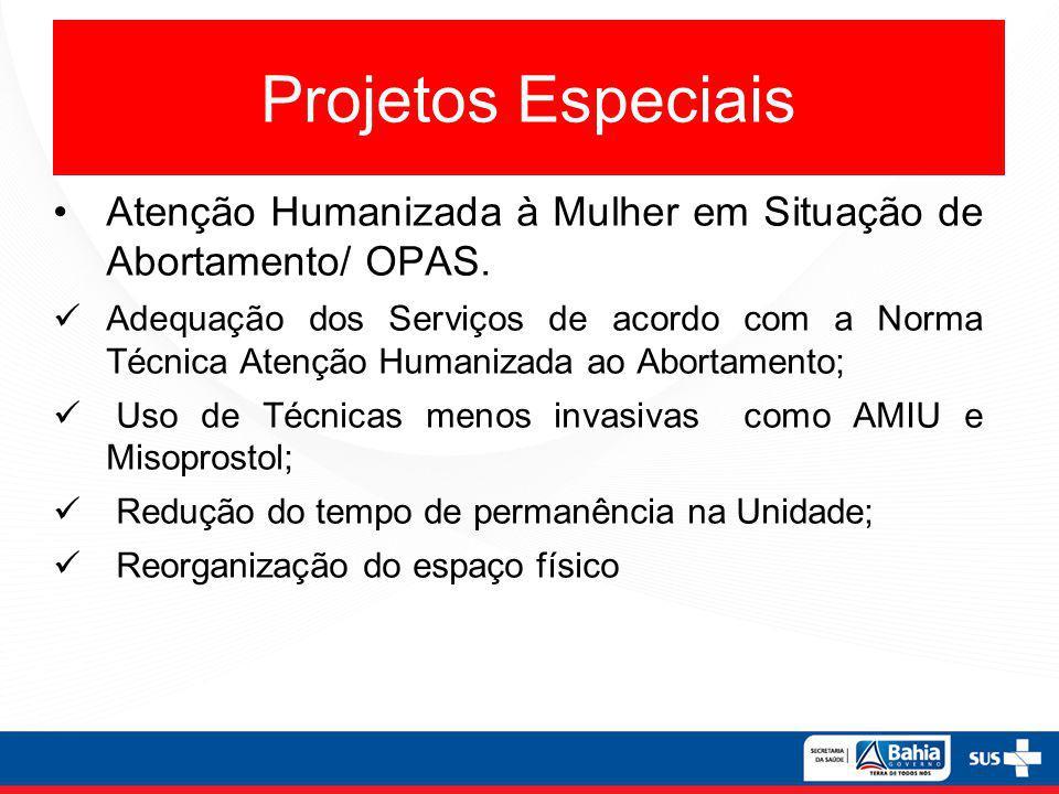 Projetos Especiais Atenção Humanizada à Mulher em Situação de Abortamento/ OPAS.