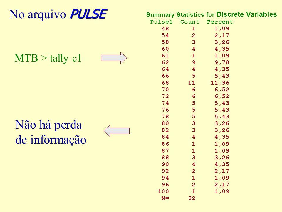 Não há perda de informação No arquivo PULSE MTB > tally c1