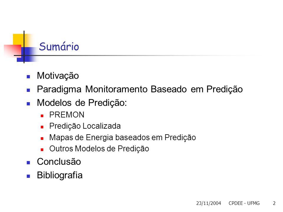 Sumário Motivação Paradigma Monitoramento Baseado em Predição