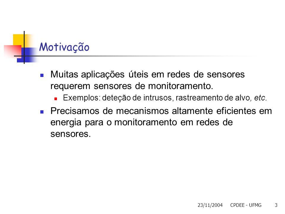 Motivação Muitas aplicações úteis em redes de sensores requerem sensores de monitoramento. Exemplos: deteção de intrusos, rastreamento de alvo, etc.