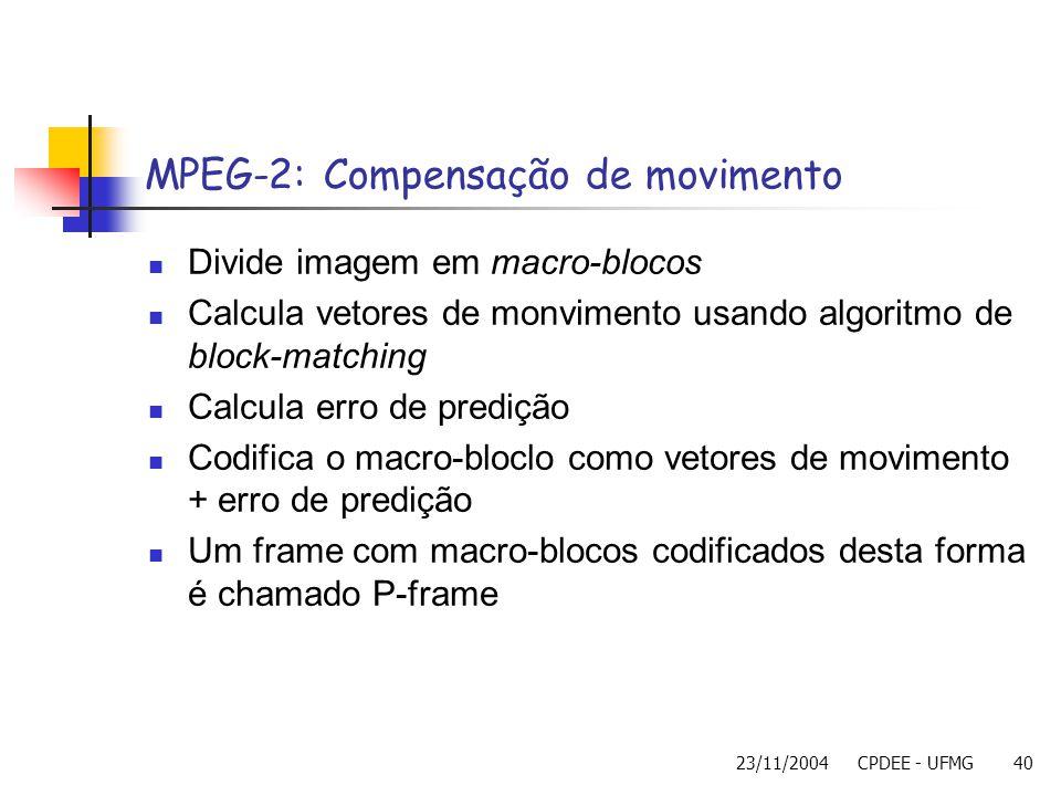 MPEG-2: Compensação de movimento