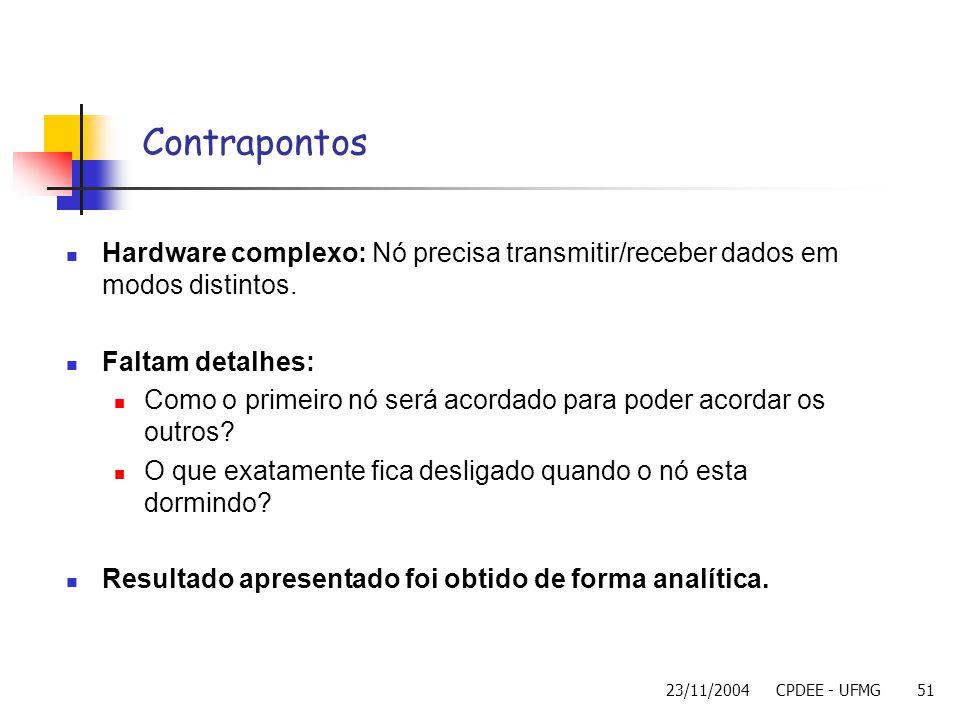Contrapontos Hardware complexo: Nó precisa transmitir/receber dados em modos distintos. Faltam detalhes:
