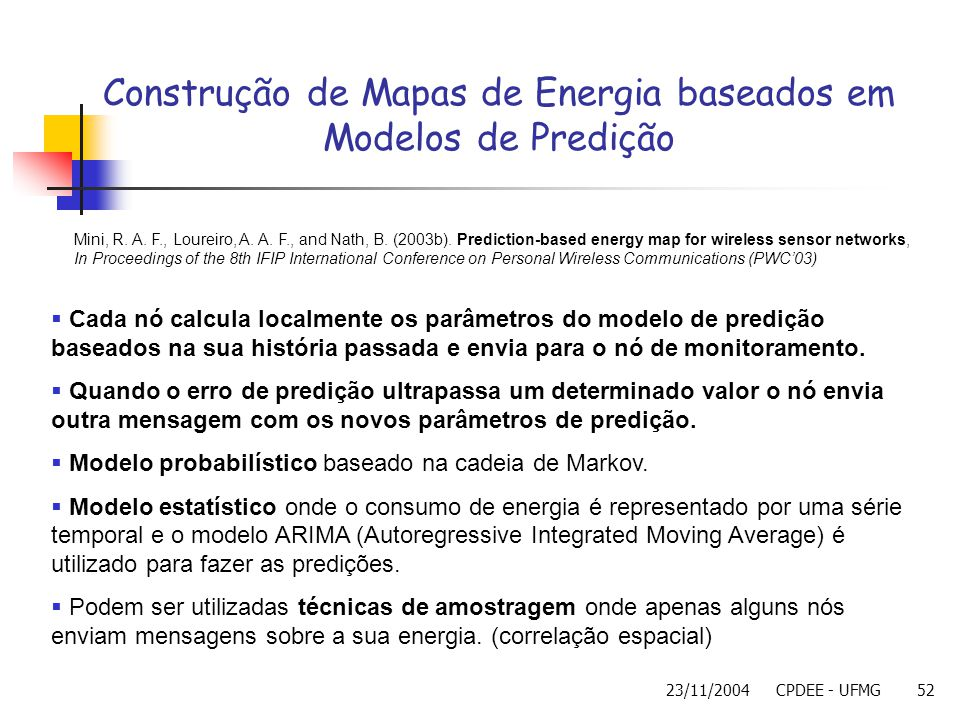Construção de Mapas de Energia baseados em Modelos de Predição