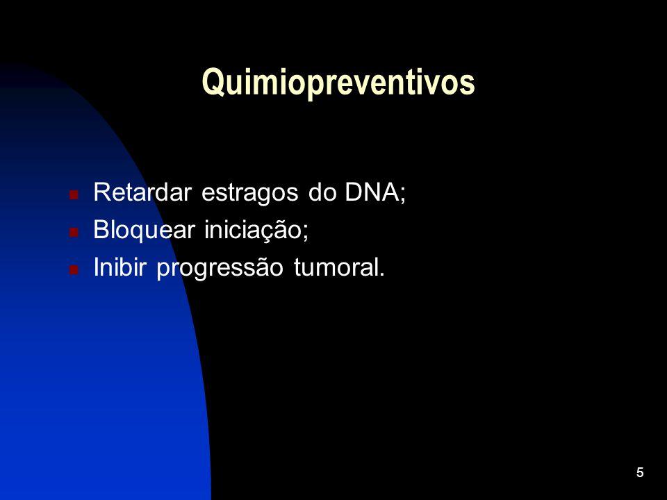 Quimiopreventivos Retardar estragos do DNA; Bloquear iniciação;