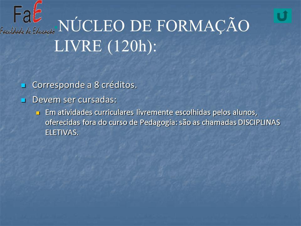 NÚCLEO DE FORMAÇÃO LIVRE (120h):