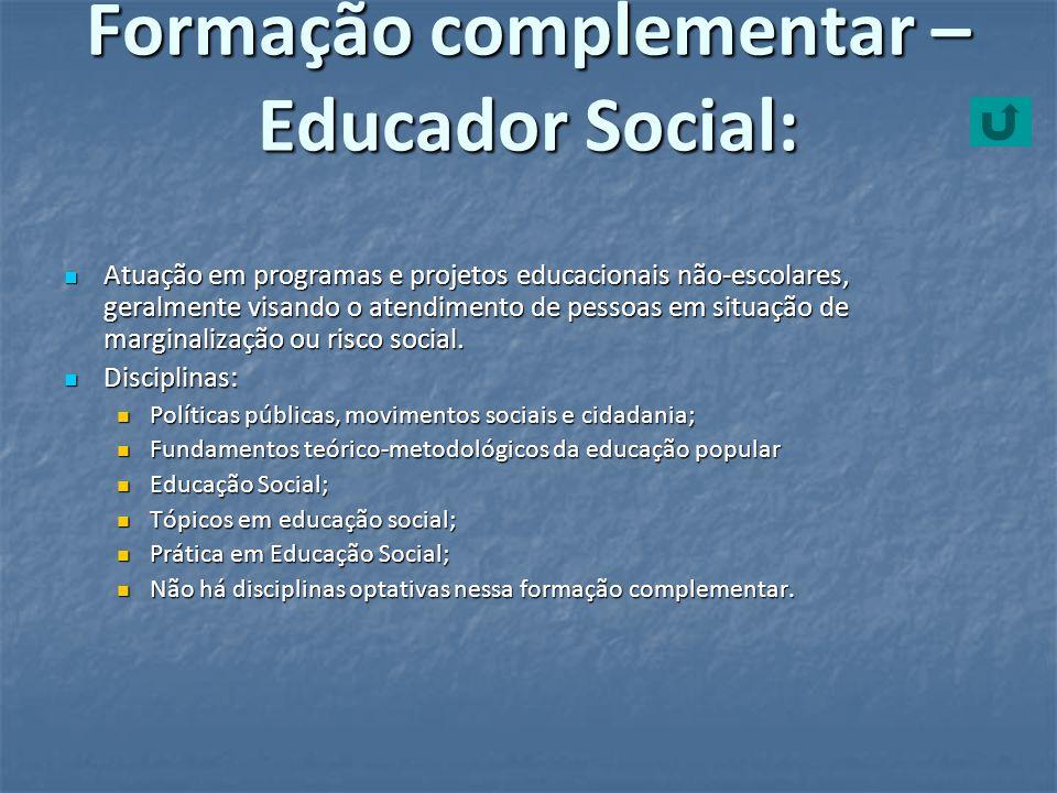 Formação complementar – Educador Social:
