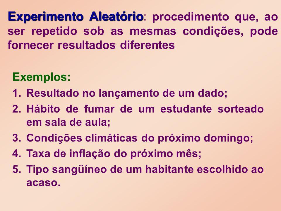 Experimento Aleatório: procedimento que, ao ser repetido sob as mesmas condições, pode fornecer resultados diferentes