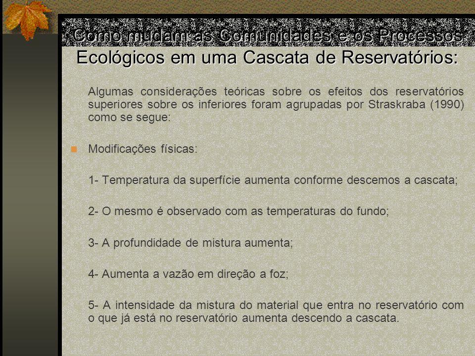Como mudam as Comunidades e os Processos Ecológicos em uma Cascata de Reservatórios: