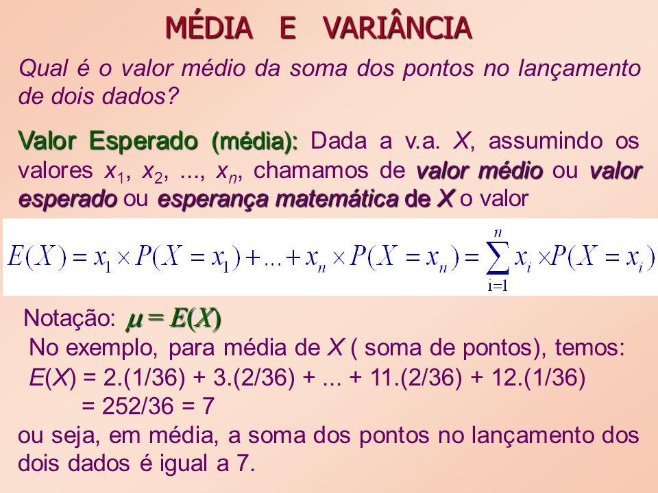 MÉDIA E VARIÂNCIA Qual é o valor médio da soma dos pontos no lançamento de dois dados