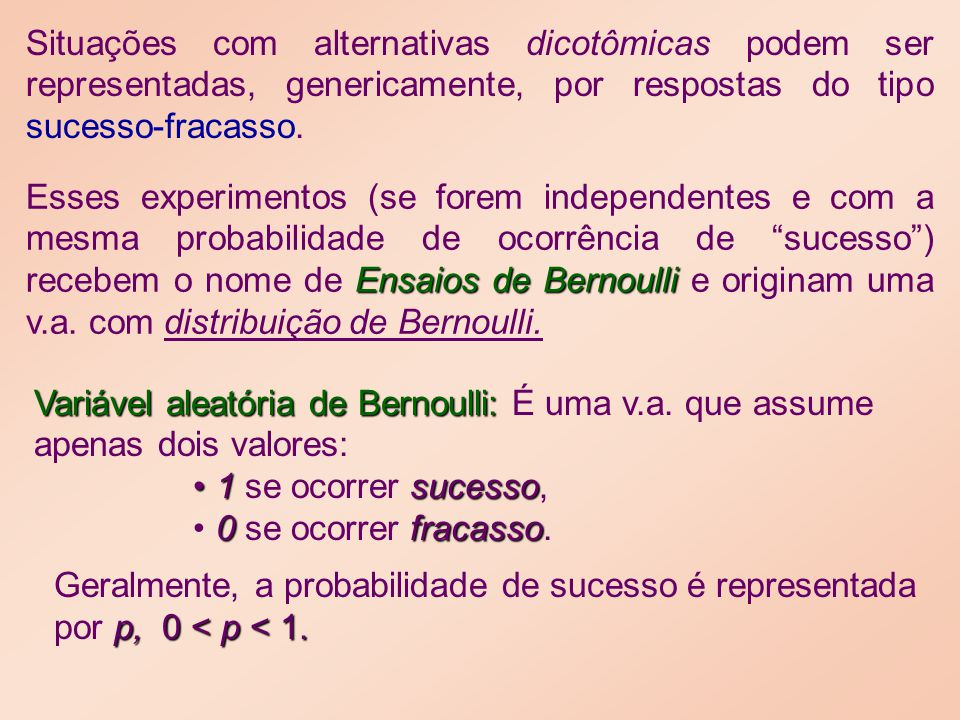 Situações com alternativas dicotômicas podem ser representadas, genericamente, por respostas do tipo sucesso-fracasso.