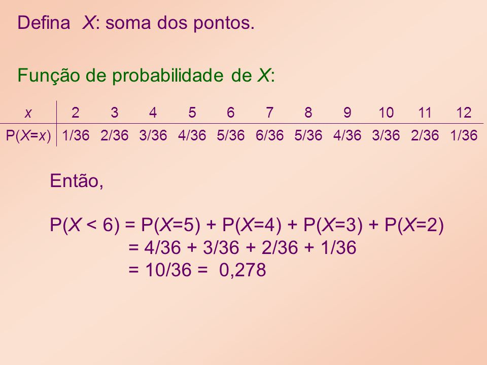 Defina X: soma dos pontos.