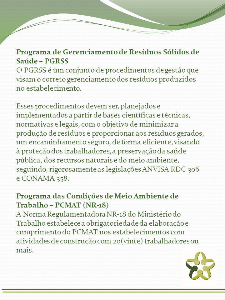 Programa de Gerenciamento de Resíduos Sólidos de Saúde – PGRSS