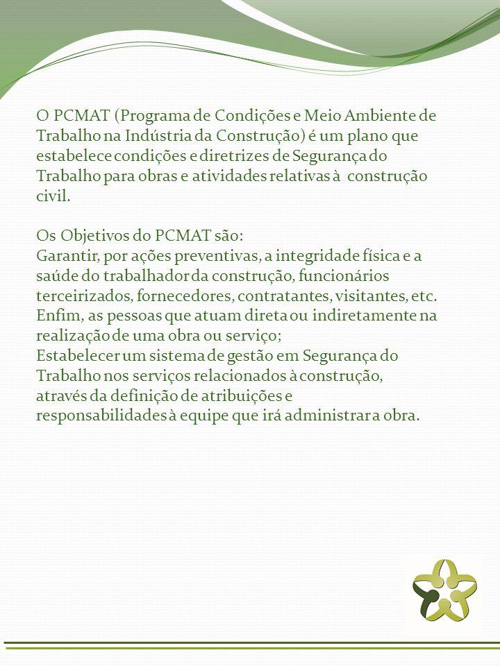 O PCMAT (Programa de Condições e Meio Ambiente de Trabalho na Indústria da Construção) é um plano que estabelece condições e diretrizes de Segurança do Trabalho para obras e atividades relativas à construção civil.
