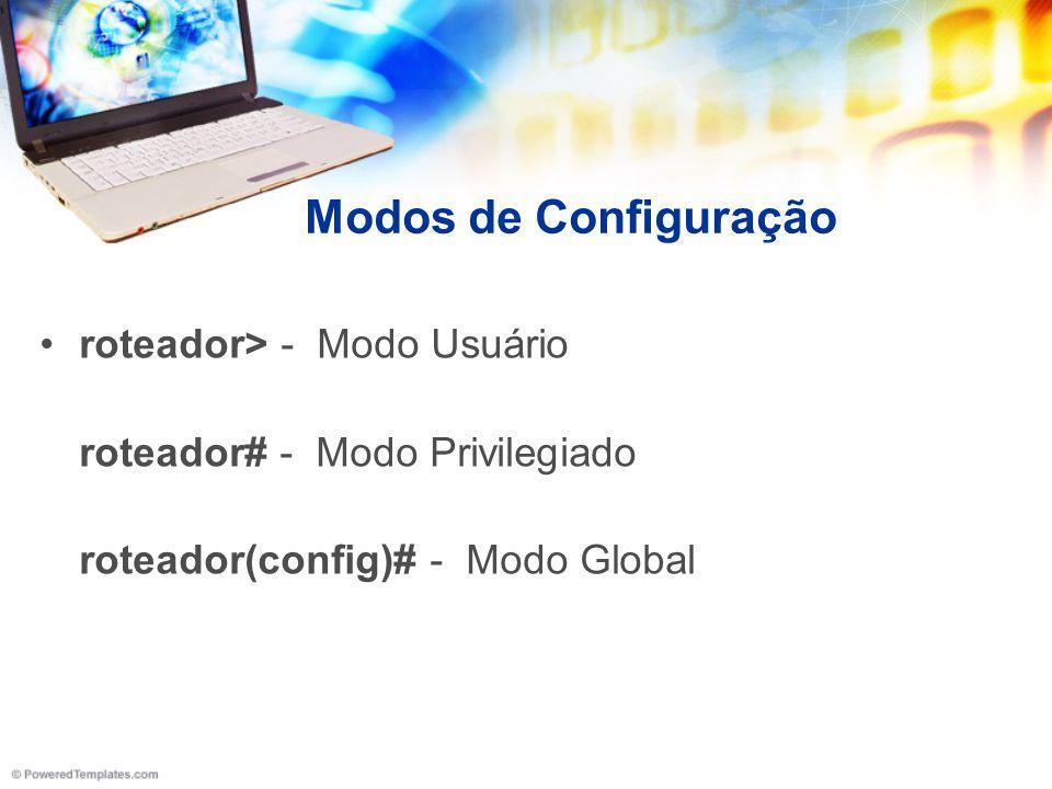 Modos de Configuração roteador> - Modo Usuário
