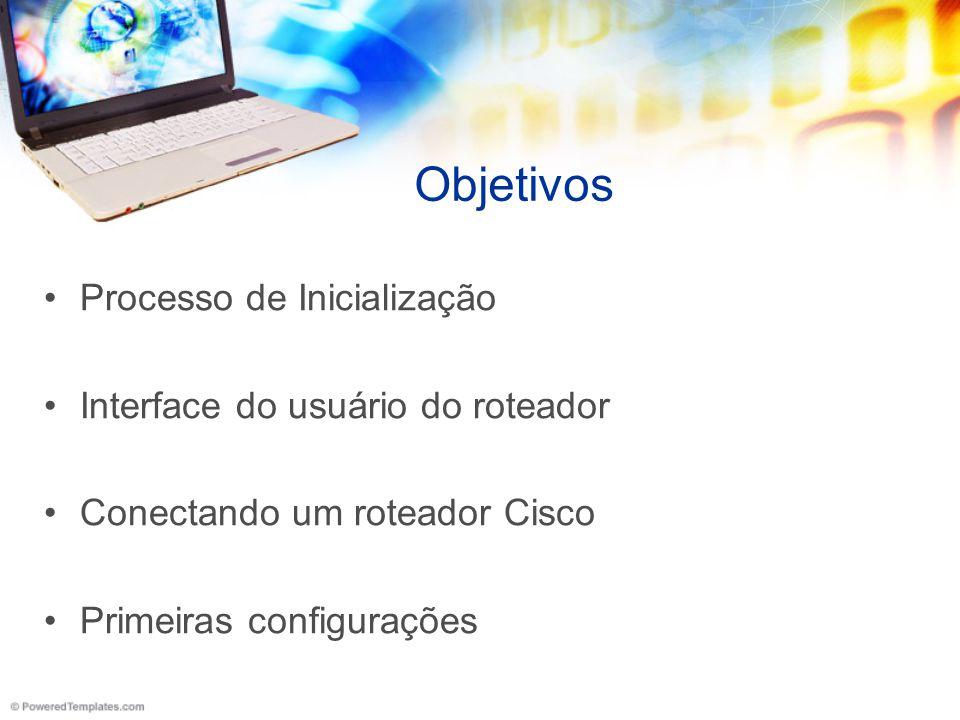 Objetivos Processo de Inicialização Interface do usuário do roteador