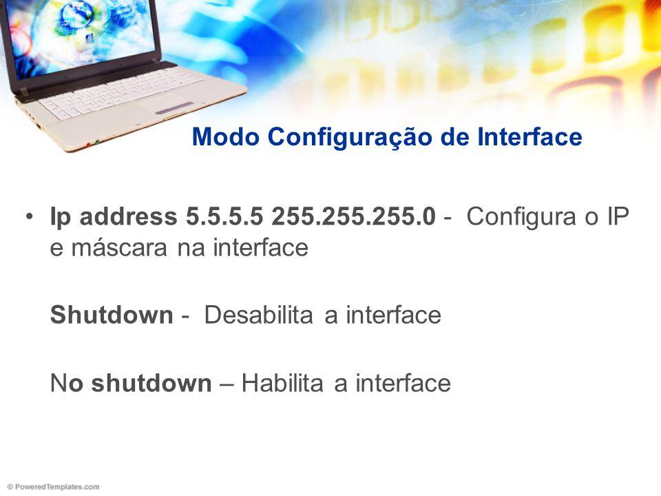 Modo Configuração de Interface