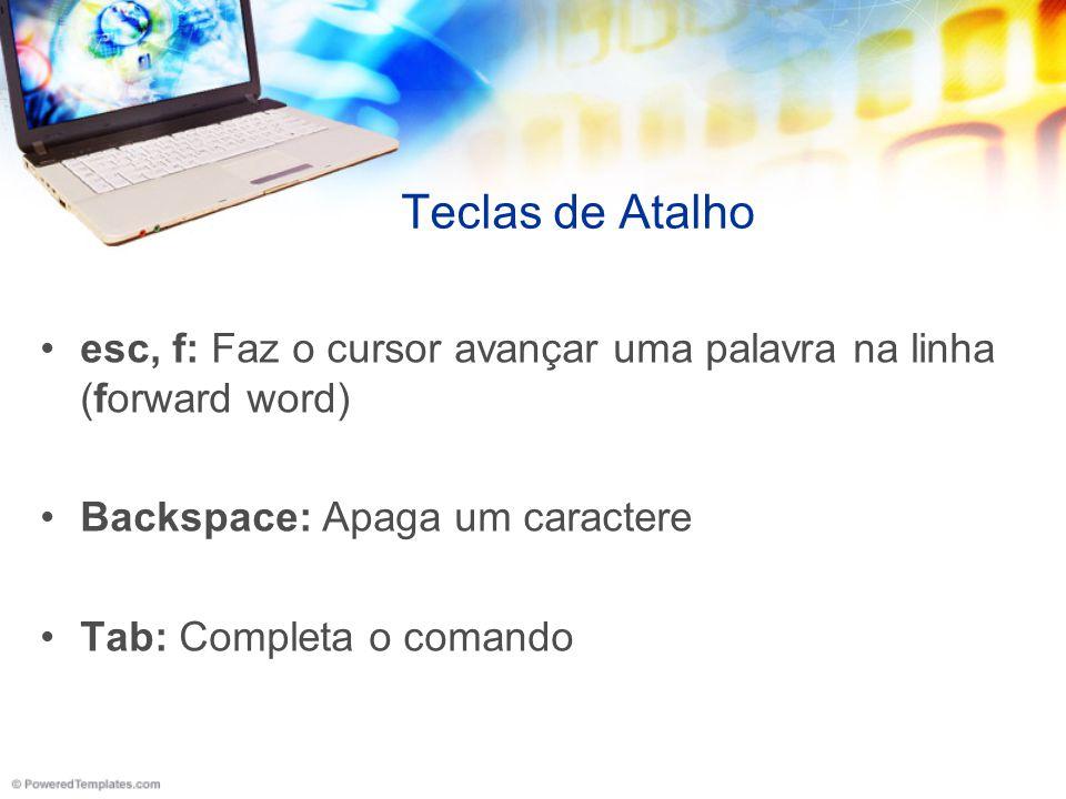 Teclas de Atalho esc, f: Faz o cursor avançar uma palavra na linha (forward word) Backspace: Apaga um caractere.