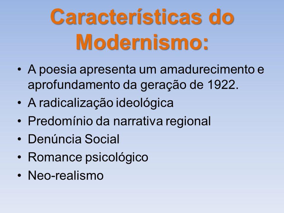 Características do Modernismo: