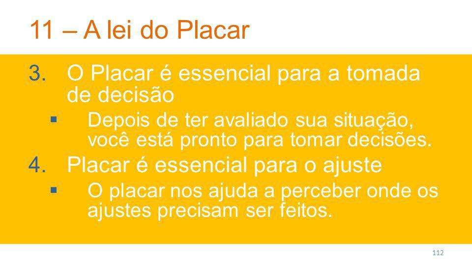 11 – A lei do Placar O Placar é essencial para a tomada de decisão