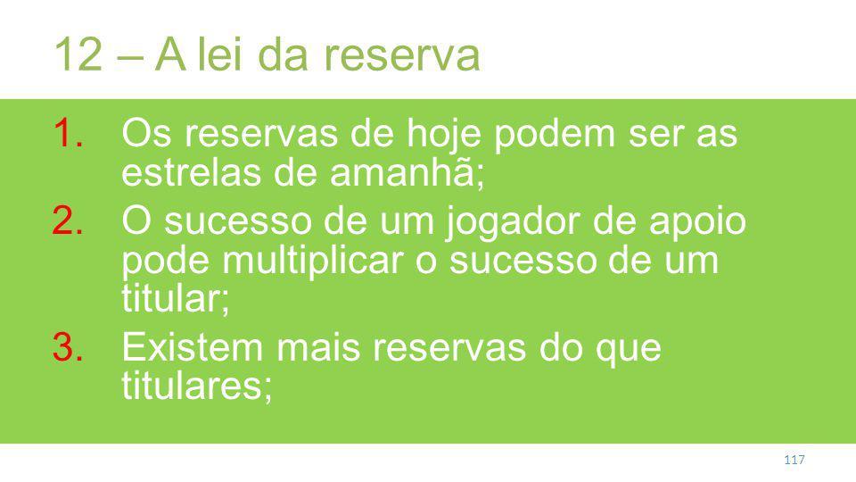 12 – A lei da reserva Os reservas de hoje podem ser as estrelas de amanhã;