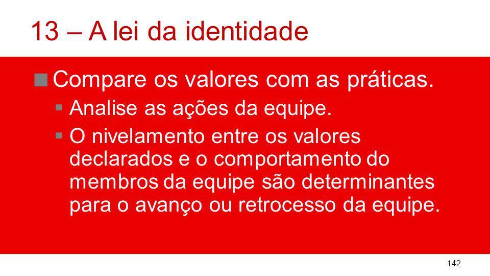 13 – A lei da identidade Compare os valores com as práticas.